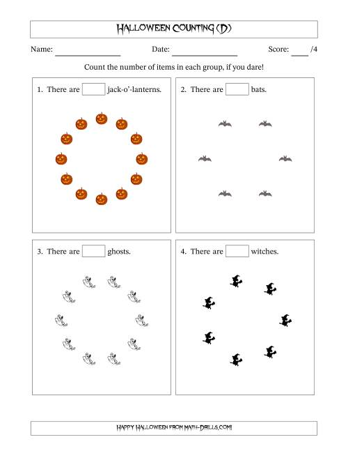 The Counting Halloween Pictures in Circular Patterns (D) Math Worksheet