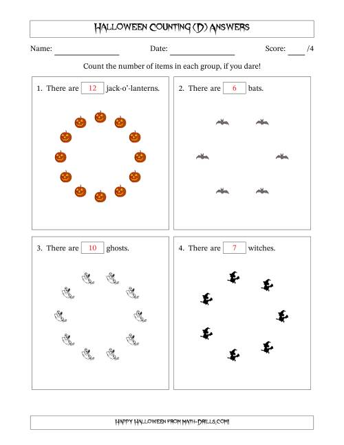 The Counting Halloween Pictures in Circular Patterns (D) Math Worksheet Page 2