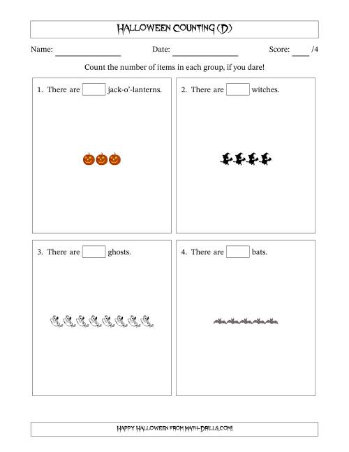 The Counting Halloween Pictures in Linear Patterns (D) Math Worksheet