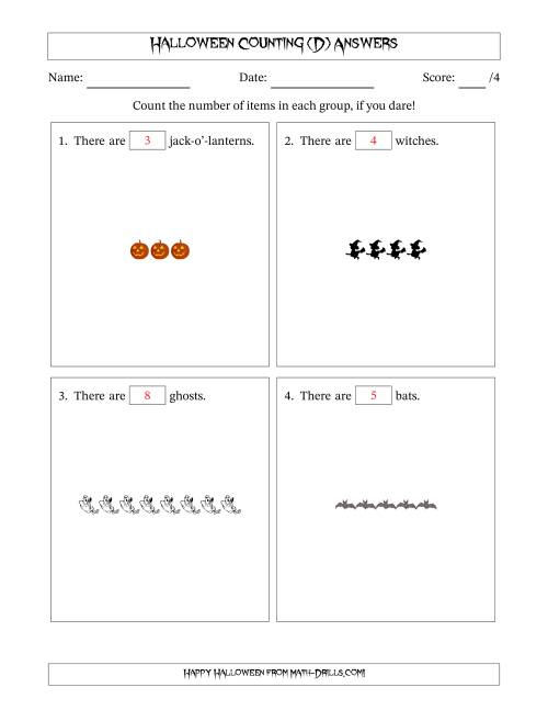 The Counting Halloween Pictures in Linear Patterns (D) Math Worksheet Page 2