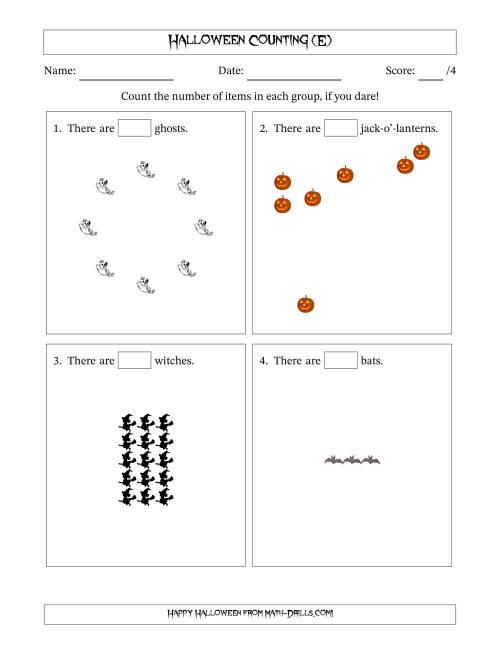 The Counting Halloween Pictures in Mixed Patterns (E) Math Worksheet