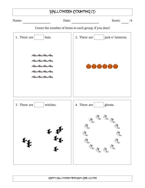 The Counting Halloween Pictures in Mixed Patterns (I) Math Worksheet