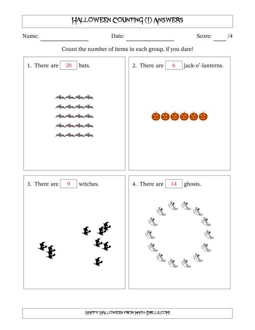 The Counting Halloween Pictures in Mixed Patterns (I) Math Worksheet Page 2