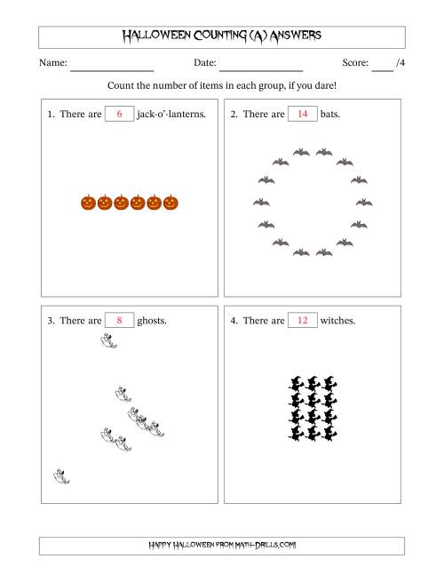 The Counting Halloween Pictures in Mixed Patterns (All) Math Worksheet Page 2