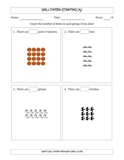 The Counting Halloween Pictures in Rectangular Patterns (A) Math Worksheet