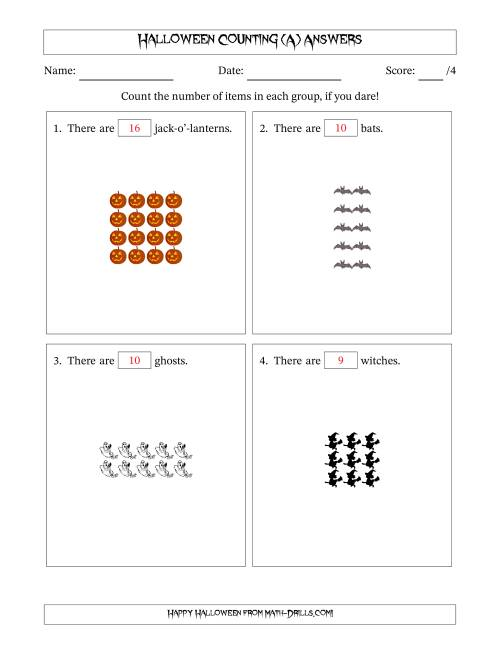 The Counting Halloween Pictures in Rectangular Patterns (A) Math Worksheet Page 2