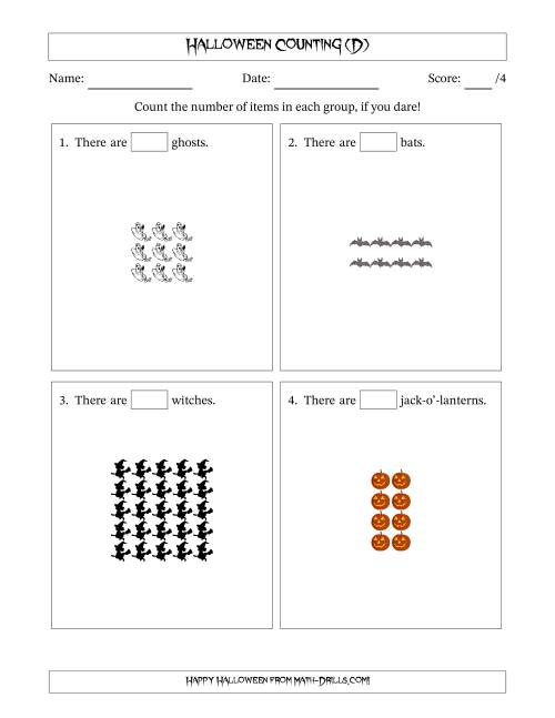 The Counting Halloween Pictures in Rectangular Patterns (D) Math Worksheet