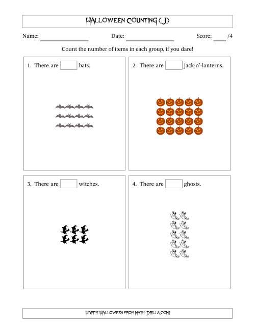 The Counting Halloween Pictures in Rectangular Patterns (J) Math Worksheet