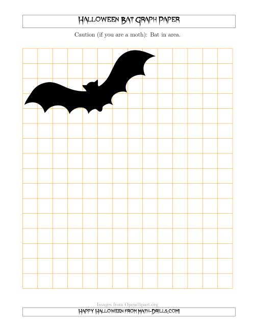 The Halloween Bat 1/2 inch Graph Paper Math Worksheet