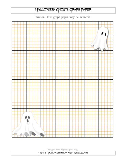 The Halloween Ghosts 2.5/0.5 cm Graph Paper Math Worksheet