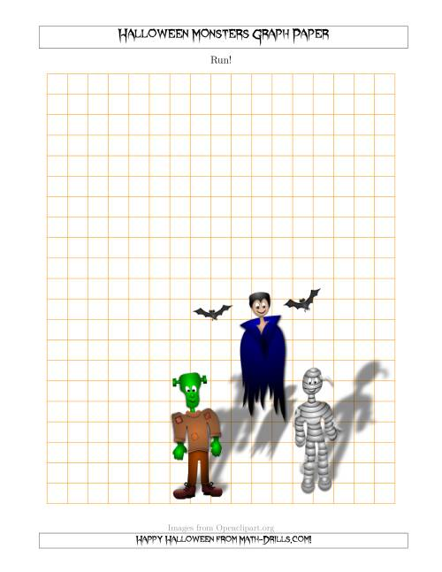 The Halloween Monsters 1 cm Graph Paper Math Worksheet