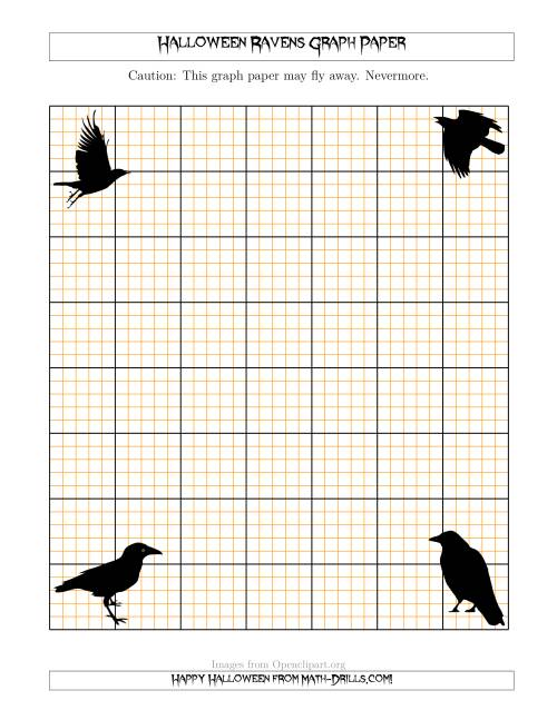 The Halloween Ravens 5 Lines/Inch Graph Paper Math Worksheet