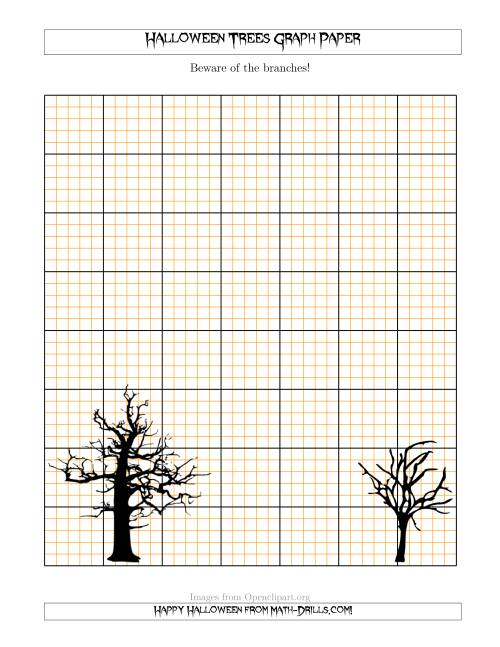 The Halloween Trees 5 Lines/Inch Graph Paper Math Worksheet