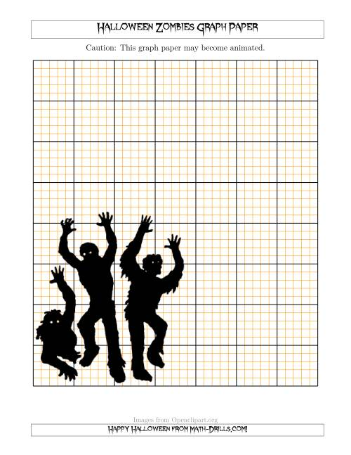 The Halloween Zombies 2.5/0.5 cm Graph Paper Math Worksheet
