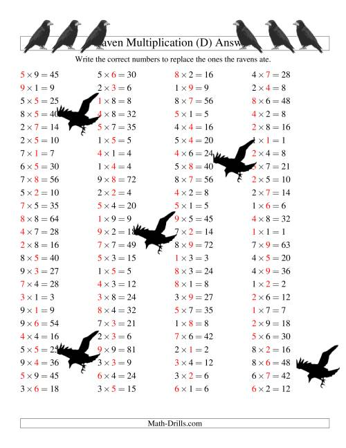 The Raven Multiplication with Missing Terms (D) Math Worksheet Page 2