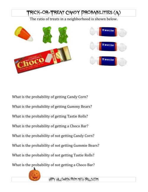 math worksheet : trick or treat candy probabilities a halloween math worksheet : Probability Math Worksheets