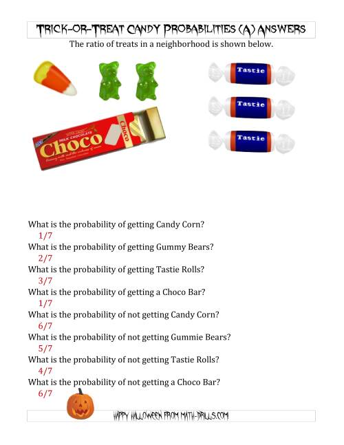 The Trick-or-Treat Candy Probabilities (A) Math Worksheet Page 2