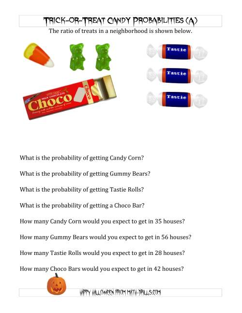 The Trick-or-Treat Candy Probabilities and Predictions (A) Math Worksheet