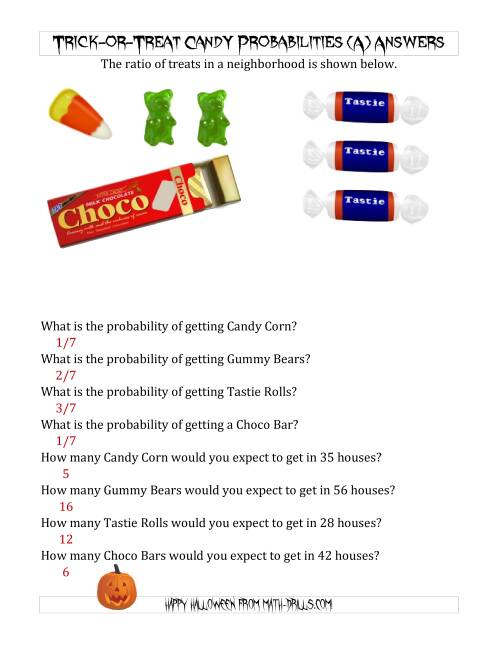 The Trick-or-Treat Candy Probabilities and Predictions (A) Math Worksheet Page 2