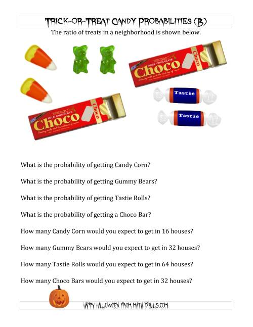 The Trick-or-Treat Candy Probabilities and Predictions (B) Math Worksheet