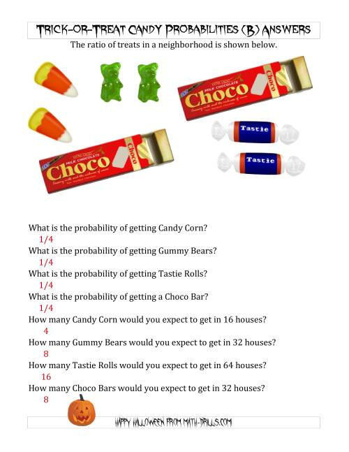 The Trick-or-Treat Candy Probabilities and Predictions (B) Math Worksheet Page 2