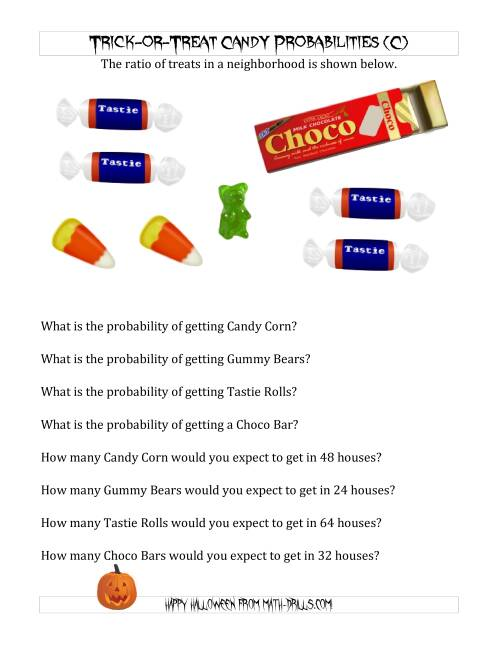 The Trick-or-Treat Candy Probabilities and Predictions (C) Math Worksheet