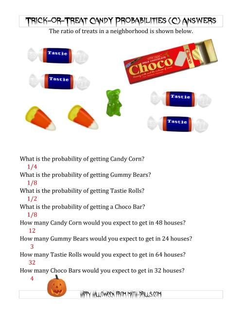 The Trick-or-Treat Candy Probabilities and Predictions (C) Math Worksheet Page 2