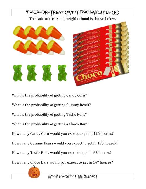 The Trick-or-Treat Candy Probabilities and Predictions (E) Math Worksheet