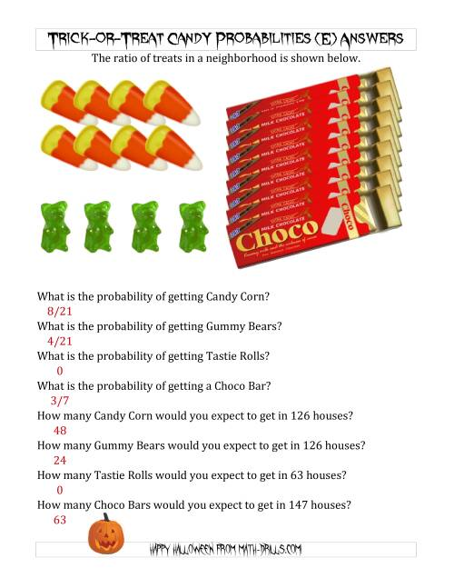 The Trick-or-Treat Candy Probabilities and Predictions (E) Math Worksheet Page 2