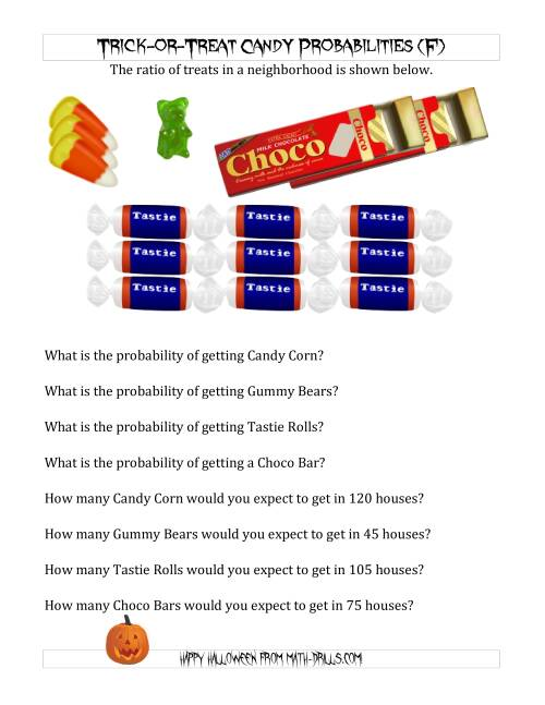 The Trick-or-Treat Candy Probabilities and Predictions (F) Math Worksheet