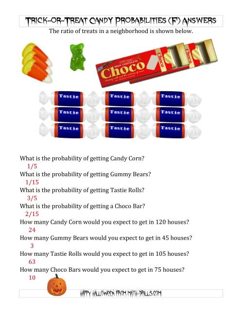 The Trick-or-Treat Candy Probabilities and Predictions (F) Math Worksheet Page 2
