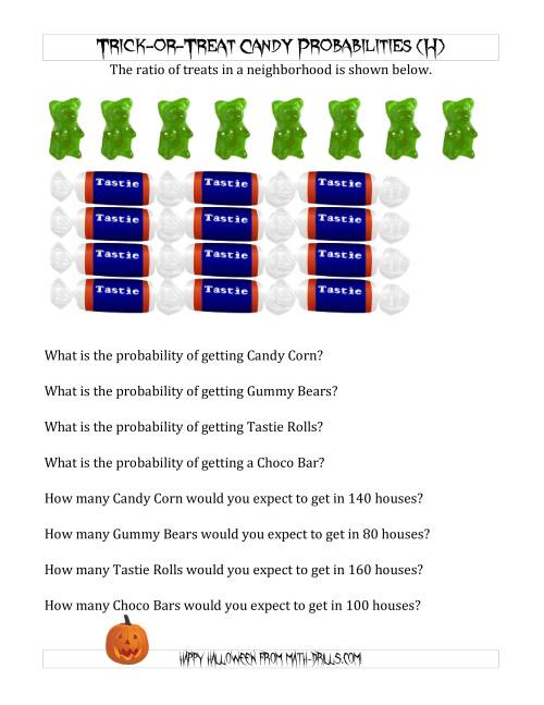 The Trick-or-Treat Candy Probabilities and Predictions (H) Math Worksheet