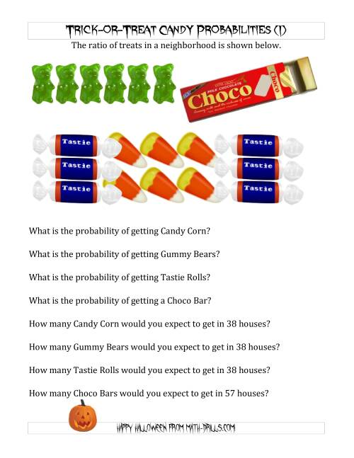 The Trick-or-Treat Candy Probabilities and Predictions (I) Math Worksheet