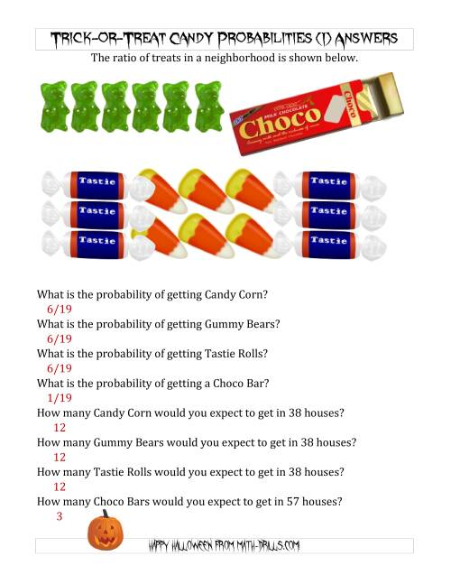 The Trick-or-Treat Candy Probabilities and Predictions (I) Math Worksheet Page 2
