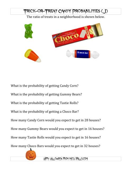 The Trick-or-Treat Candy Probabilities and Predictions (J) Math Worksheet