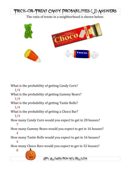 The Trick-or-Treat Candy Probabilities and Predictions (J) Math Worksheet Page 2