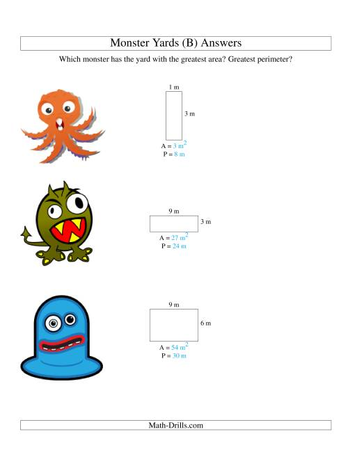 The Area and Perimeter of Monsters' Yards (B) Math Worksheet Page 2