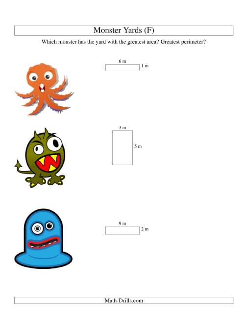 The Area and Perimeter of Monsters' Yards (F) Math Worksheet