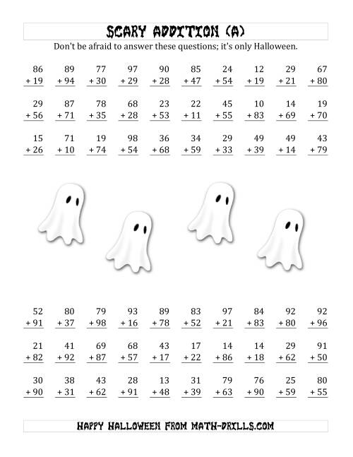The Scary Addition with Double-Digit Numbers (A) Math Worksheet
