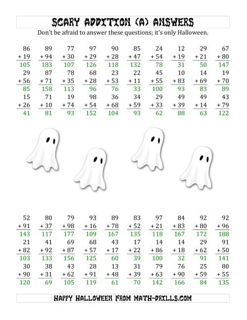 The Scary Addition with Double-Digit Numbers (A) Math Worksheet Page 2