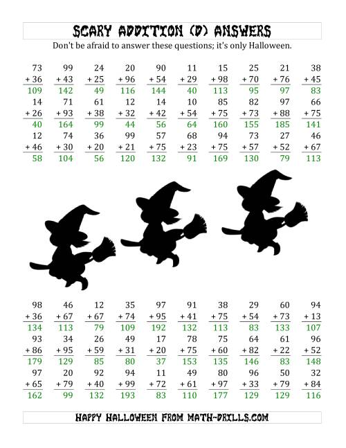 The Scary Addition with Double-Digit Numbers (D) Math Worksheet Page 2