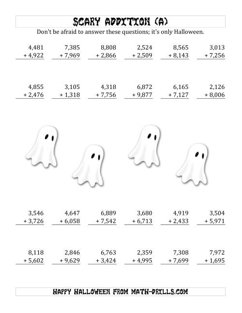 The Scary Addition with Quadruple-Digit Numbers (A) Math Worksheet