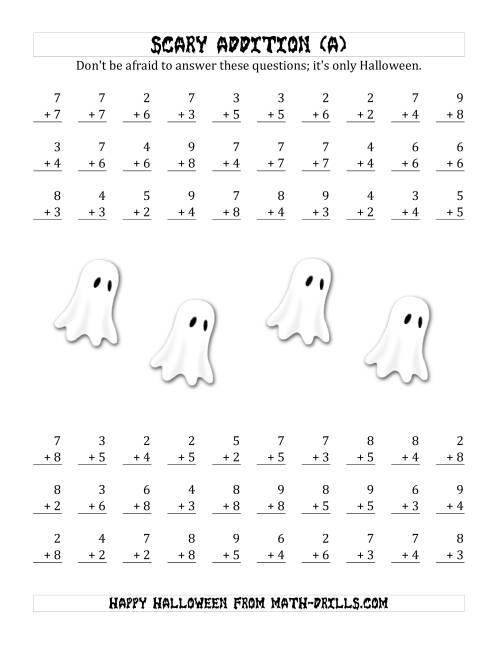 The Scary Addition with Single-Digit Numbers (A) Math Worksheet