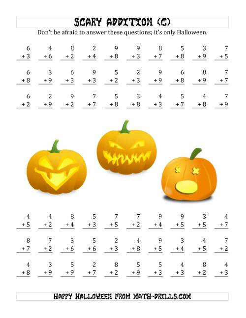The Scary Addition with Single-Digit Numbers (C) Math Worksheet