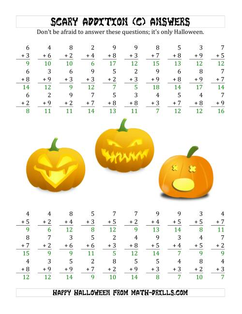 The Scary Addition with Single-Digit Numbers (C) Math Worksheet Page 2