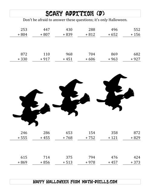 The Scary Addition with Triple-Digit Numbers (D) Math Worksheet