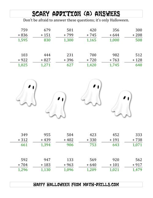 The Scary Addition with Triple-Digit Numbers (All) Math Worksheet Page 2