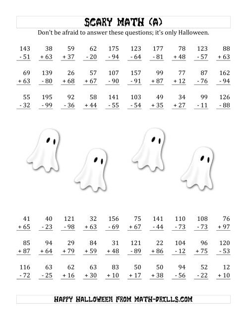 The Scary Addition and Subtraction with Double-Digit Numbers (A) Math Worksheet