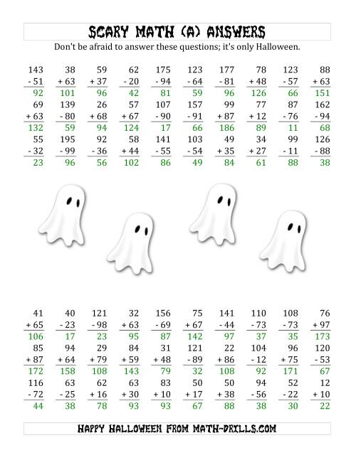 The Scary Addition and Subtraction with Double-Digit Numbers (A) Math Worksheet Page 2