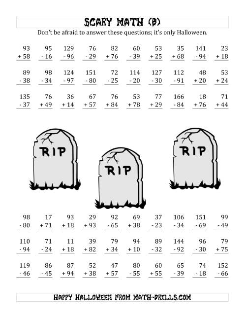 The Scary Addition and Subtraction with Double-Digit Numbers (B) Math Worksheet